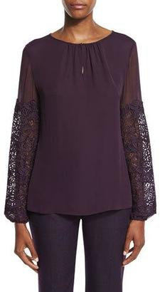 Elie Tahari Brianna Long-Sleeve Silk Blouse w/ Lace Appliqué $298 thestylecure.com