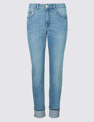 Marks and Spencer Ripped Mid Rise Relaxed Slim Jeans