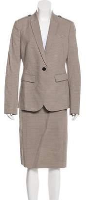 Burberry Striped Peak-Lapel Skirt Suit