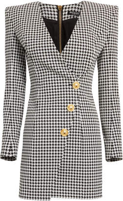 Balmain Houndstooth Wrap Blazer Dress