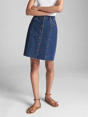 Gap High Rise Button-Front Denim Skirt