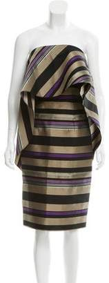 Christian Siriano Striped Strapless Dress