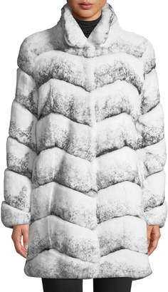 Belle Fare Oversized Chevron Fur Coat