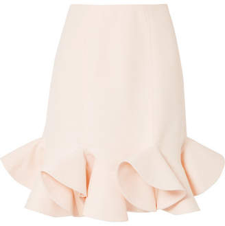 Valentino Ruffled Wool And Silk-blend Skirt - Ivory