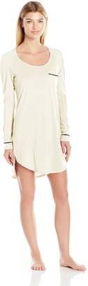 Cosabella Women's Bella Long Sleve Sleep Dress Pj, Ivory/Black