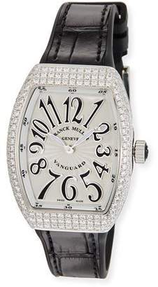 Franck Muller Lady Vanguard Watch with Diamonds & Alligator Strap