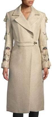 Natori Long Trench Coat w/ Embroidered Bell Sleeves
