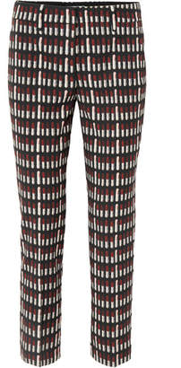 Prada Printed Wool-twill Straight-leg Pants - Black