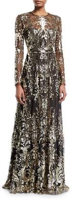 Naeem Khan Long-Sleeve Sequin Medallion Illusion Gown