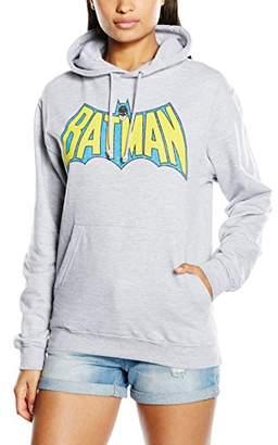 DC Comics Women's Official Batman Retro Logo Crackle Long Sleeve Hoodie