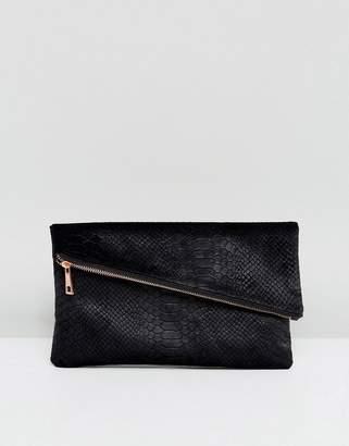 Asos DESIGN velvet snake square clutch bag with slanted zip top