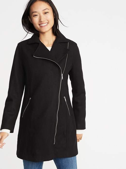 Brushed Flannel Long-Line Moto Coat for Women