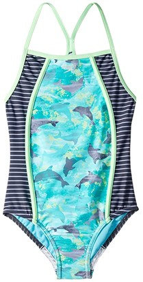 Speedo Kids Diamond Geo Splice One-Piece Swimsuit (Big Kids)