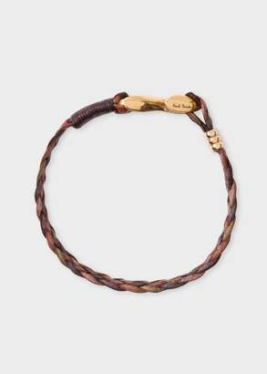 Paul Smith Men's Brown Five-Strand Plaited Leather Bracelet
