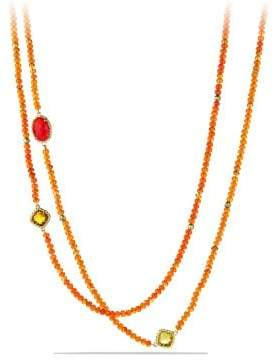 David Yurman Davidyurman Dy Signature Bead Necklace With Orange Chalcedony And