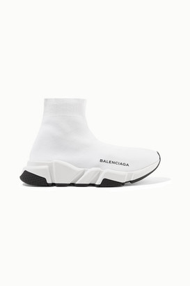 Balenciaga Speed Logo-print Stretch-knit High-top Sneakers - White