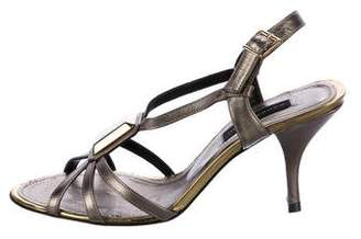 Barbara Bui Metallic Multistrap Sandals