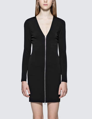 Alexander Wang Stretch Faille Ponte L/S Dress With Front Zipper