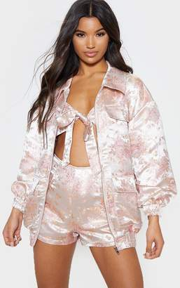 PrettyLittleThing Blush Oriental Embroidered Bomber