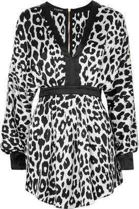 Balmain Leopard-print Silk-satin Mini Dress - Black