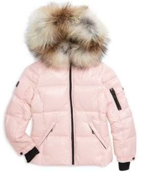 SAM. Little Girl's Blake Fox-Fur Trimmed Puffer Coat