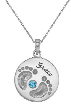 JCPenney FINE JEWELRY Personalized 10K White Gold Name and Birthstone Footprints Pendant Necklace