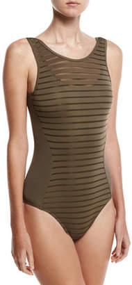 Jets Parallels Mastectomy Ribbed Mesh One-Piece Swimsuit, Stone
