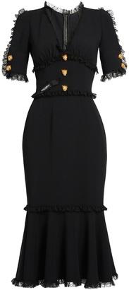 DOLCE & GABBANA Lace-trimmed cady midi dress $2,395 thestylecure.com