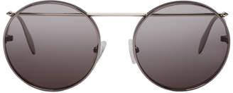 Alexander McQueen Gunmetal Round Sunglasses