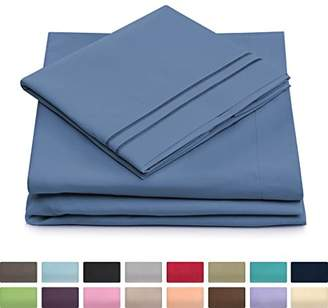 +Hotel by K-bros&Co Queen Size Bed Sheets - Peacock Blue Luxury Sheet Set - Deep Pocket - Super Soft Hotel Bedding - Cool & Wrinkle Free - 1 Fitted