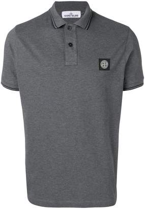 Stone Island contrast logo polo shirt