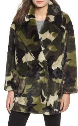 NVLT Camo Print Faux Fur Coat