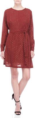 Scotch & Soda Belted Lurex Long Sleeve Dress