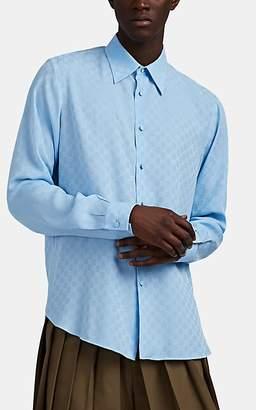 e321f59e8 Gucci Men's GG-Logo Silk Jacquard Button-Front Shirt - Blue