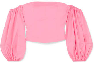 STAUD - Emma Off-the-shoulder Stretch-cotton Poplin Top - Bubblegum