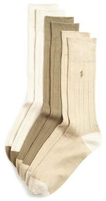 Polo Ralph Lauren Ribbed Dress Socks, Pack of 3