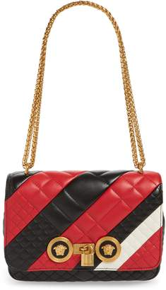 Versace Icon Stripe Quilted Leather Shoulder Bag