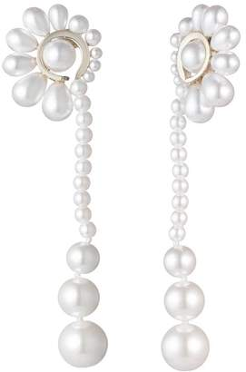 Carolee Simulated Pearl Linear Fan Drop Earrings