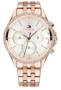 Tommy Hilfiger Ari Multi-Functional Crystal Rose Goldplated Bracelet Watch