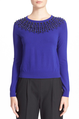 MILLY Embellished Pullover Sweater $365 thestylecure.com