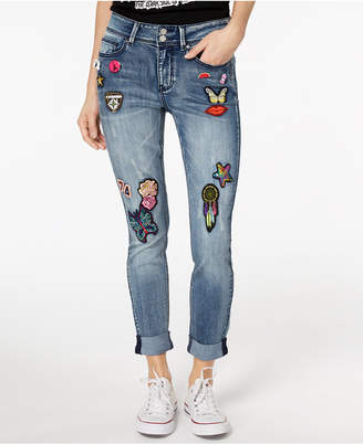 Indigo Rein Juniors' Embroidered Cuffed Skinny Jeans