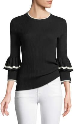 Frame Ruffle-Cuff Rib-Knit Wool Sweater