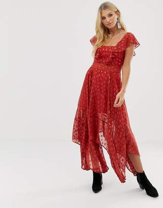 Religion maxi dress in sheer dobby with frill detail