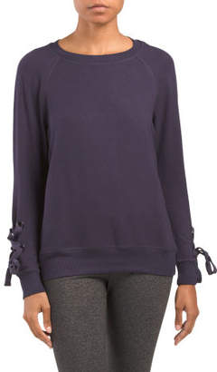 French Terry Lace Up Sleeve Sweatshirt