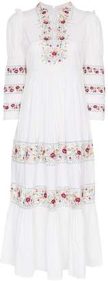 By Ti Mo By Timo floral embroidered cotton midi dress