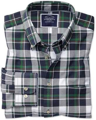 Charles Tyrwhitt Extra Slim Fit Navy and Green Large Check Washed Oxford Cotton Casual Shirt Single Cuff Size Small