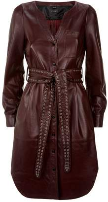 SET Belted Leather Dress