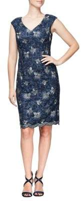 Alex Evenings Embroidered Cap-Sleeve Shift Dress