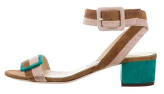 Jimmy Choo Suede Buckle-Accented Sandals Tan Suede Buckle-Accented Sandals