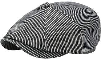 Striped Cotton Flat Cap